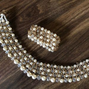 Pearl/rhinestone necklace and bracelet with chain
